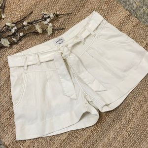 BEBE Linen Contrast Trim Cuffed Belted Shorts
